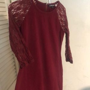 Burgandy L Express Bodycon Dress with Lace